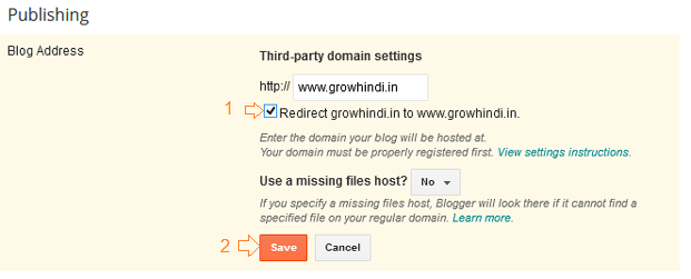 Redirecting to www in blogger