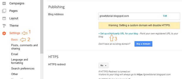 Setting up third party url in blogger
